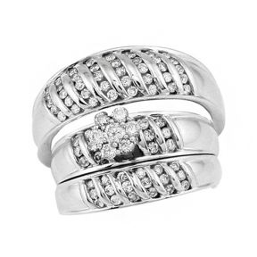 SS 1.00ctw Diamond Trio Set Rings in Sterling Silver - SD0499