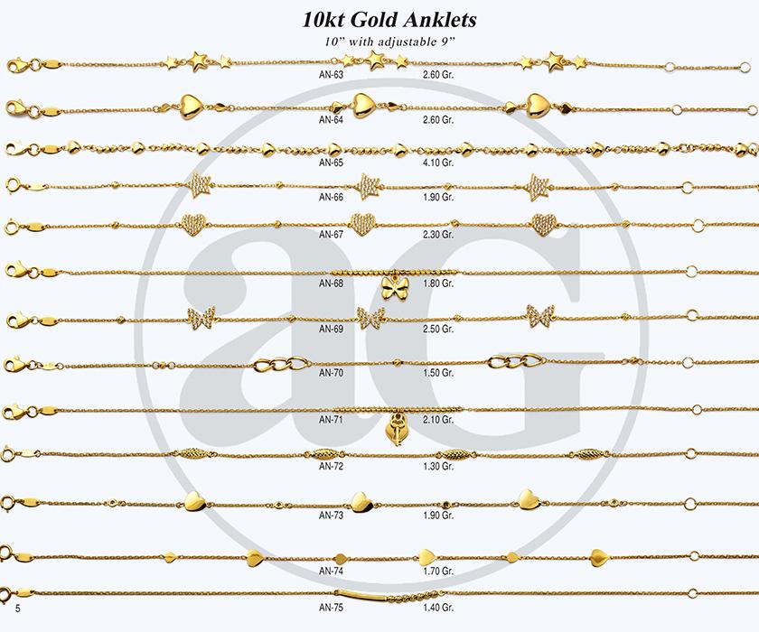 10kt Gold Anklets-5