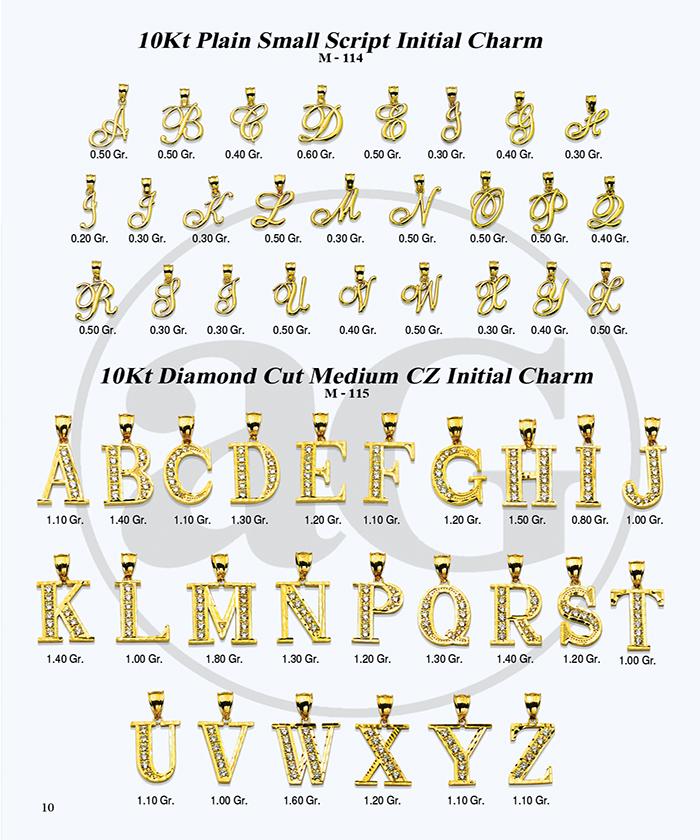 10kt Gold Initials Catalog-10