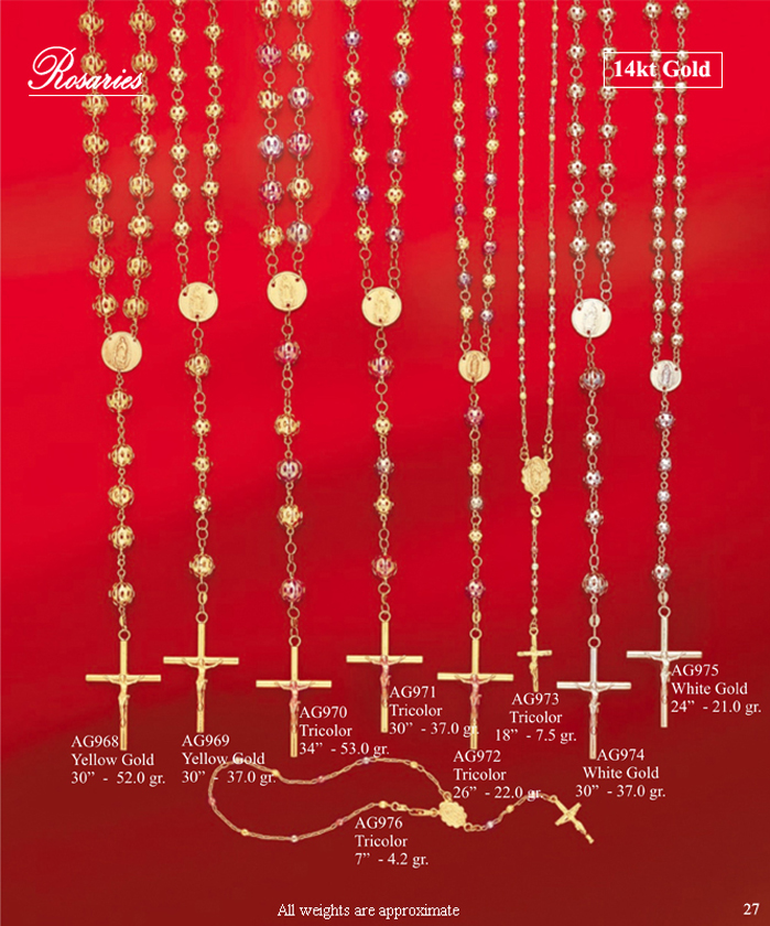 Page 27<br>14Kt Rosaries