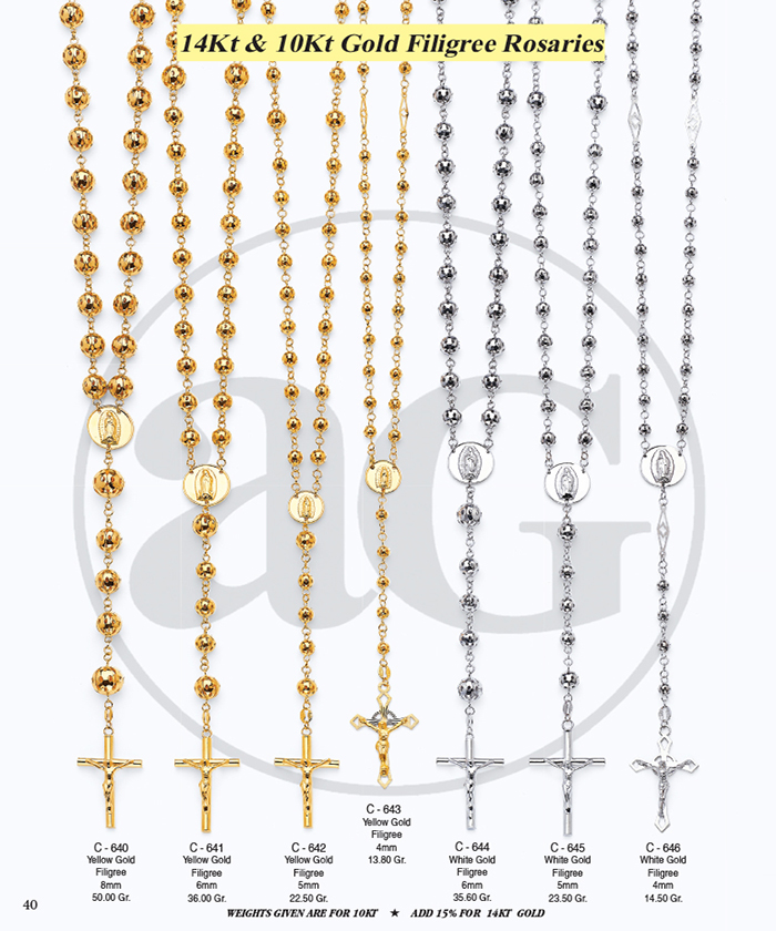 Page 40 - 14Kt & 10Kt Filigree Rosaries
